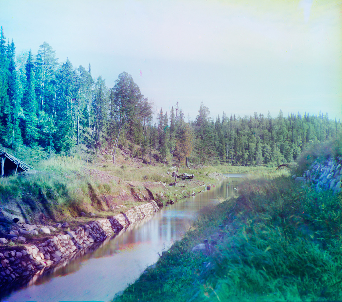 Great Solovetsky Island. Canal between Long Lake & Little Red Lake. Late summer 1916