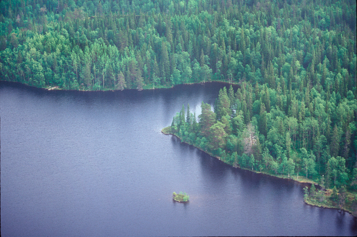 Great Solovetsky Island. Aerial view of Great Stone Lake. June 29, 1999