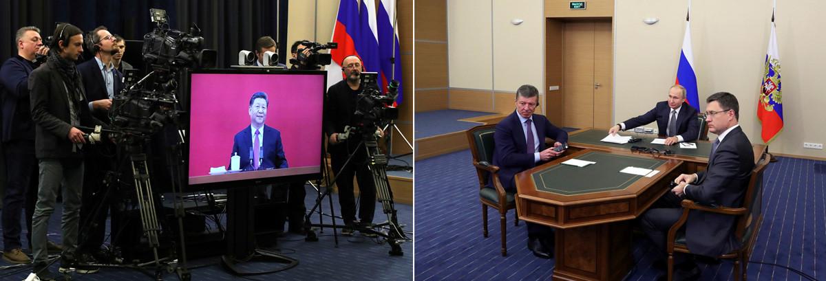 Китайският лидер Си Дзинпин на екрана по време на видеоконференция и руският президент Владимир Путин, вицепремиерът Дмитрий Козак и министърът на енергетиката Александър Новак по време на церемонията по пускането на газопровода