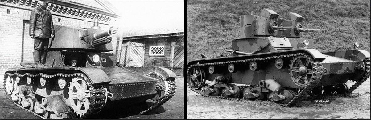 tank T-26 s topom A-43 in Vickers Mark E (Type A)