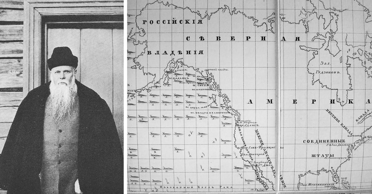 ゲンナジー・ユーディン(左側)/クジラの移動を示す地図、「露米会社」の報告書