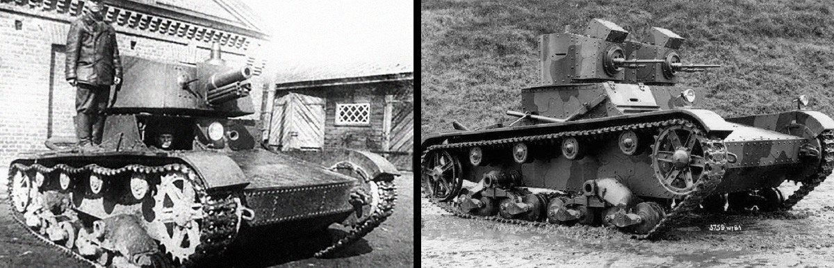 T-26 tank with A-43 turret and Vickers Mark E (Type A) tank in early thirties.