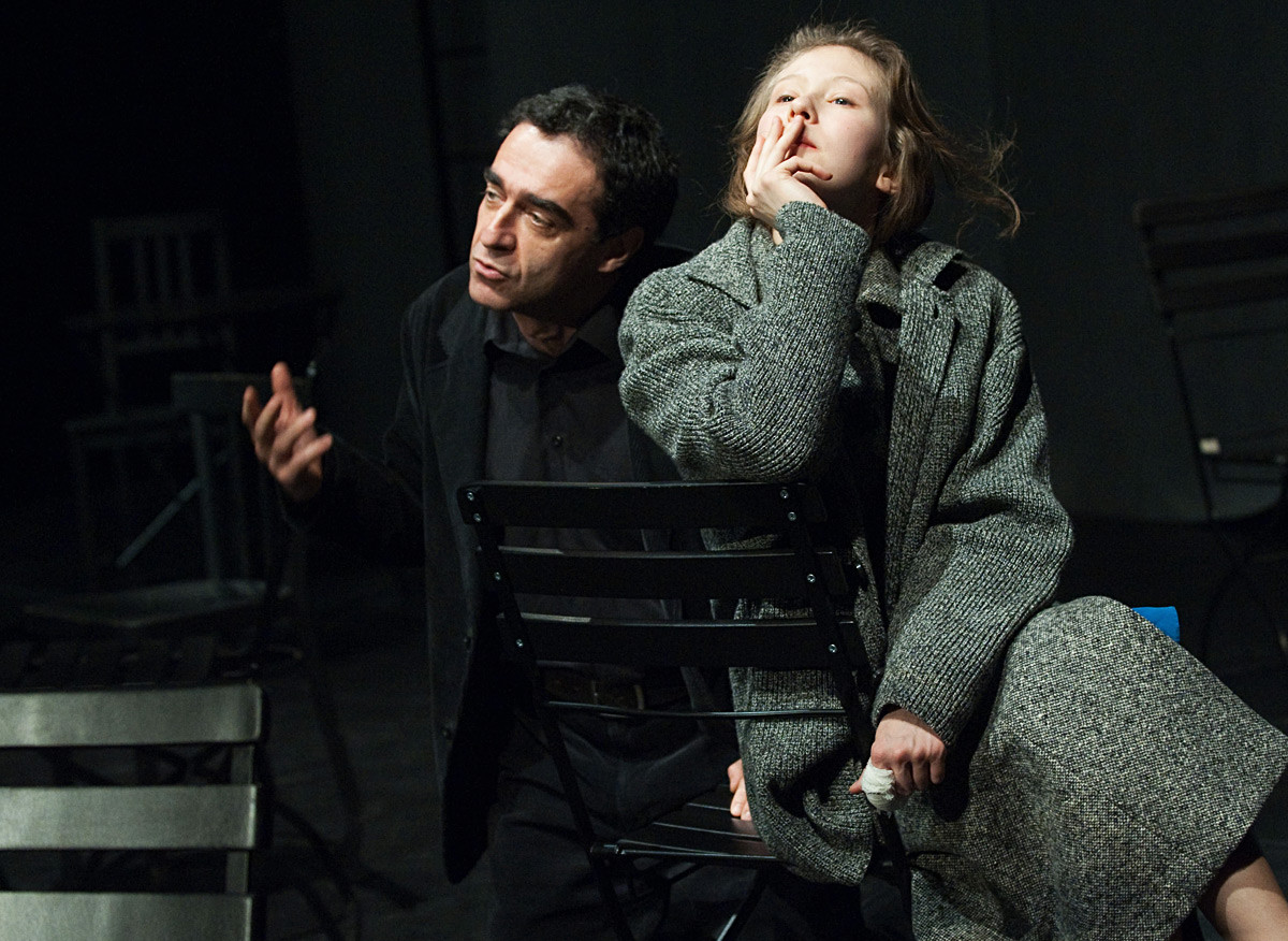 A scene from Marina Brusnikina's production based on Mikhail Shishkin's Letter-Book (Pismovnik) novel (The Light and the Dark in English translation), performed at the Chekhov Moscow Art Theater