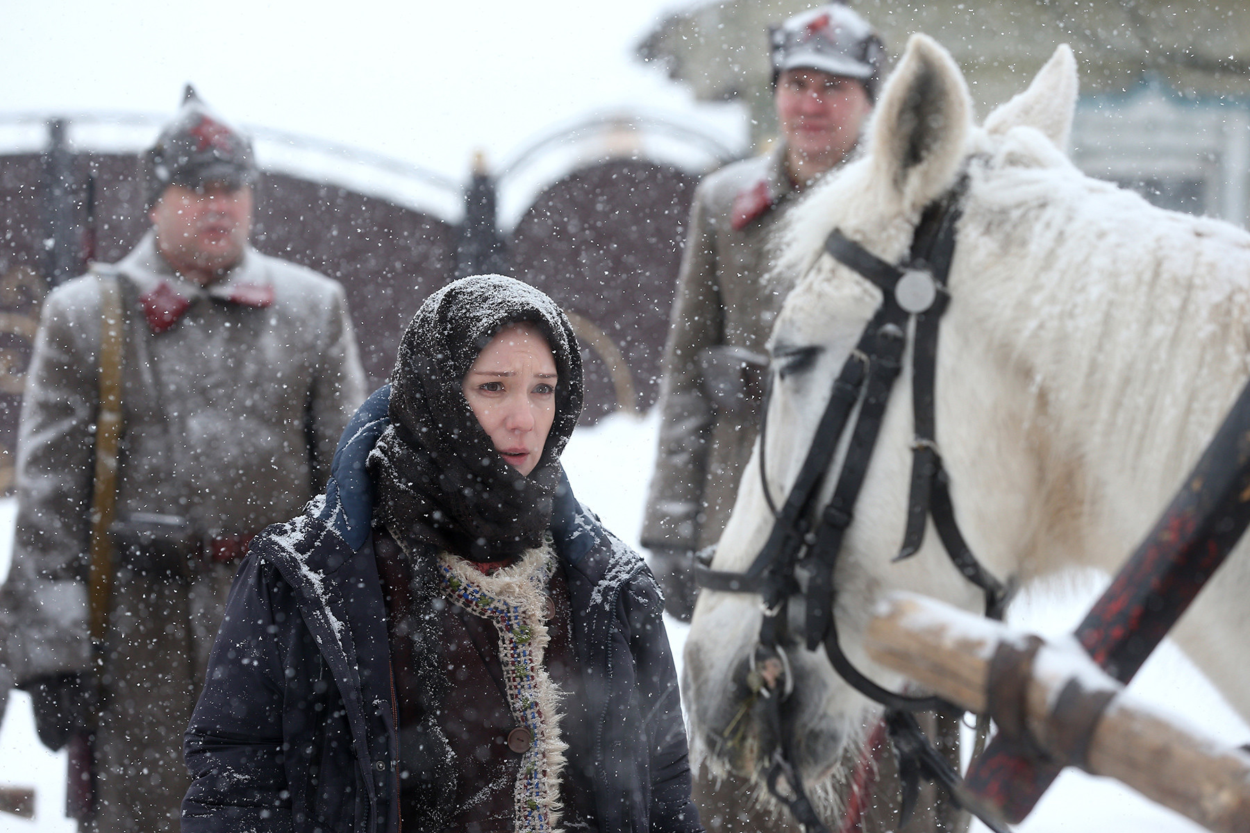 Actress Chulpan Khamatova on set of Yegor Anashkin's film 'Zuleikha Opens Her Eyes' based on Guzel Yakhina's novel