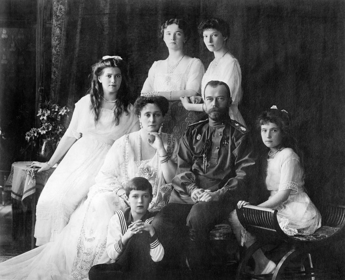 Russian Imperial family Photo shows members of the Romanovs, the last imperial family of Russia including: seated (left to right) Maria, Queen Alexandra, Czar Nicholas II, Anastasia, Alexei (front), and standing (left to right), Olga and Tatiana. (Source: Flickr Commons project, 2010)