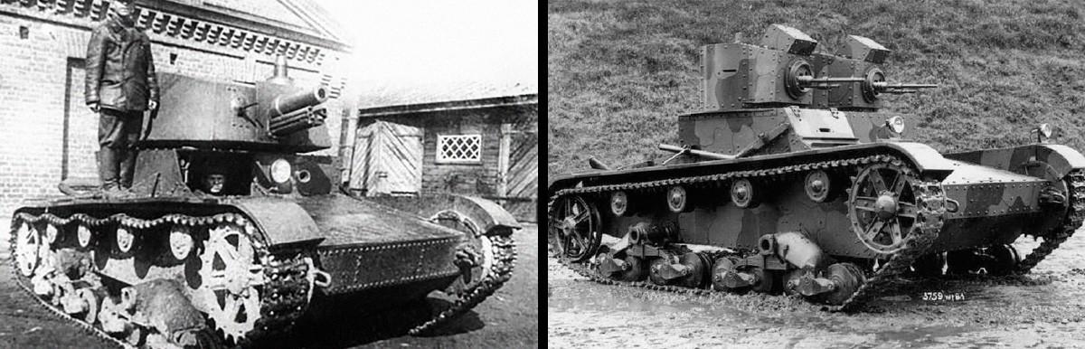 Тенкот Т-26 со купола А-43 и тенкот Викерс Марк Е (Тип А) на почетокот на триесеттите години од минатиот век.