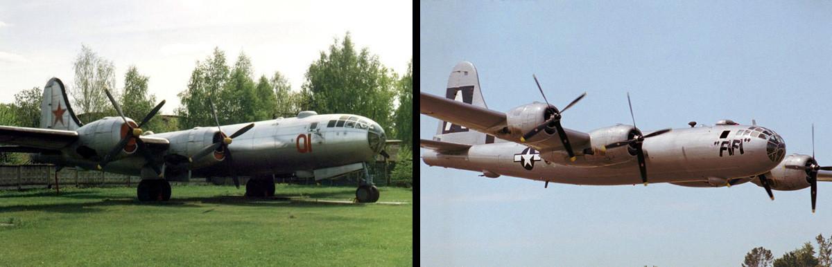 """Бомбардерот Т-4 """"Туполев"""" во музејот во Монино и В-29."""