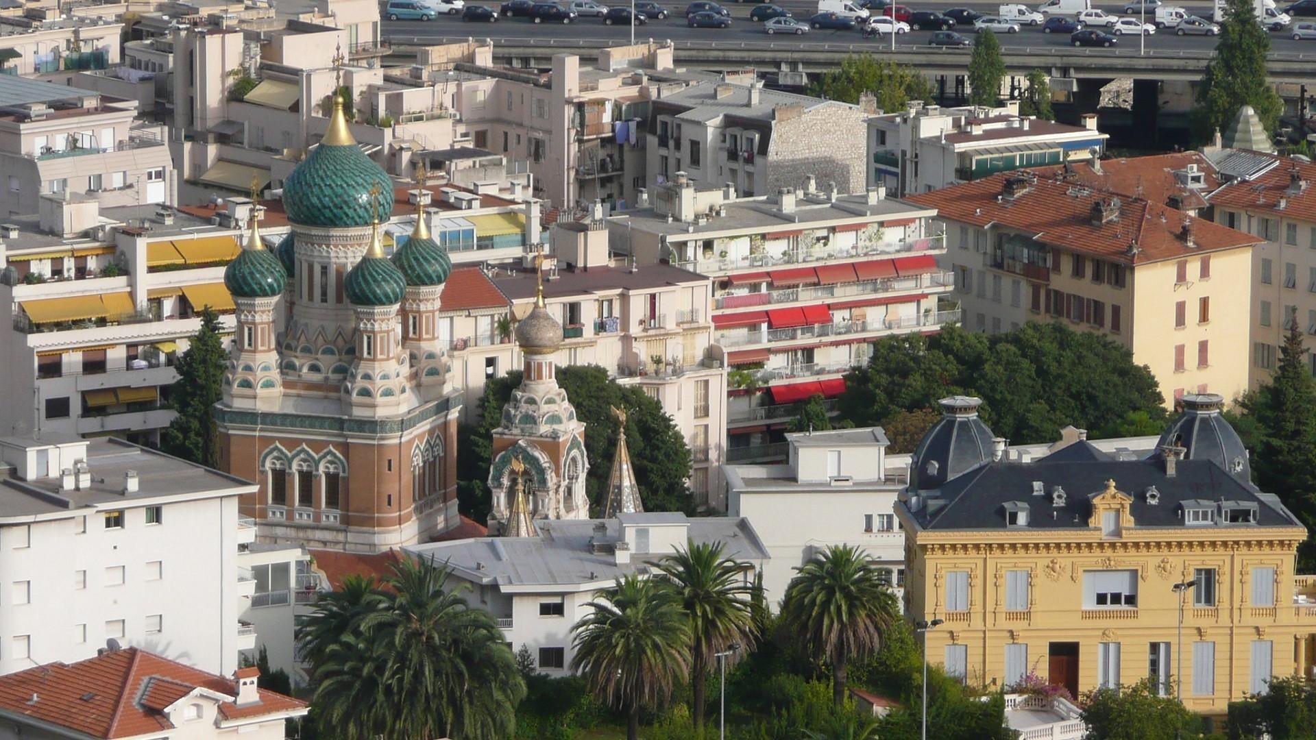 Vue sur la cathédrale orthodoxe russe Saint-Nicolas de Nice