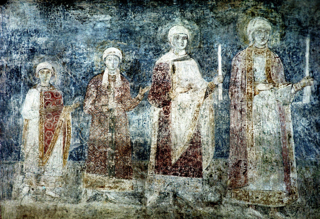 Daughters of Yaroslav the Wise as depicted on a fresco in Saint Sophia's Cathedral, Kiev (from left to right): Anna, Anastasia, Elizaveta, Agatha