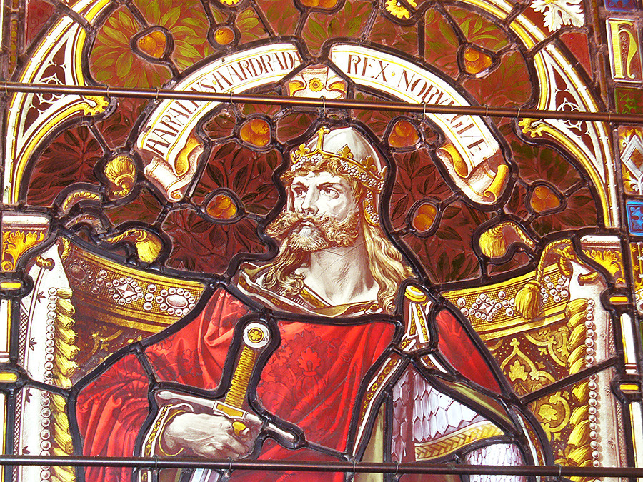 Harald of Norway. Window with portrait of Harald in Lerwick Town Hall, Shetland