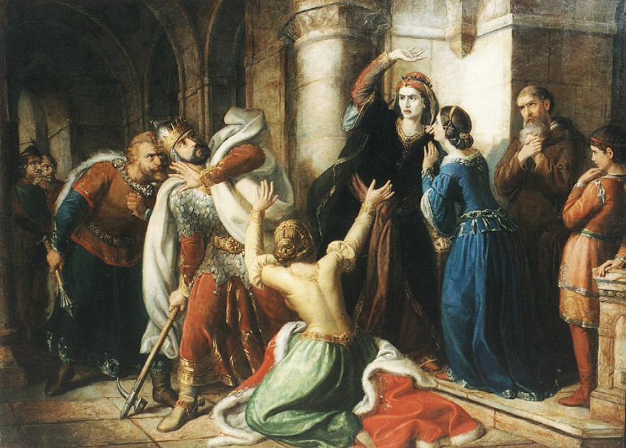 Мајка проклиње мађарског краља Шоломона, уметник Сома Орлај Петрић.