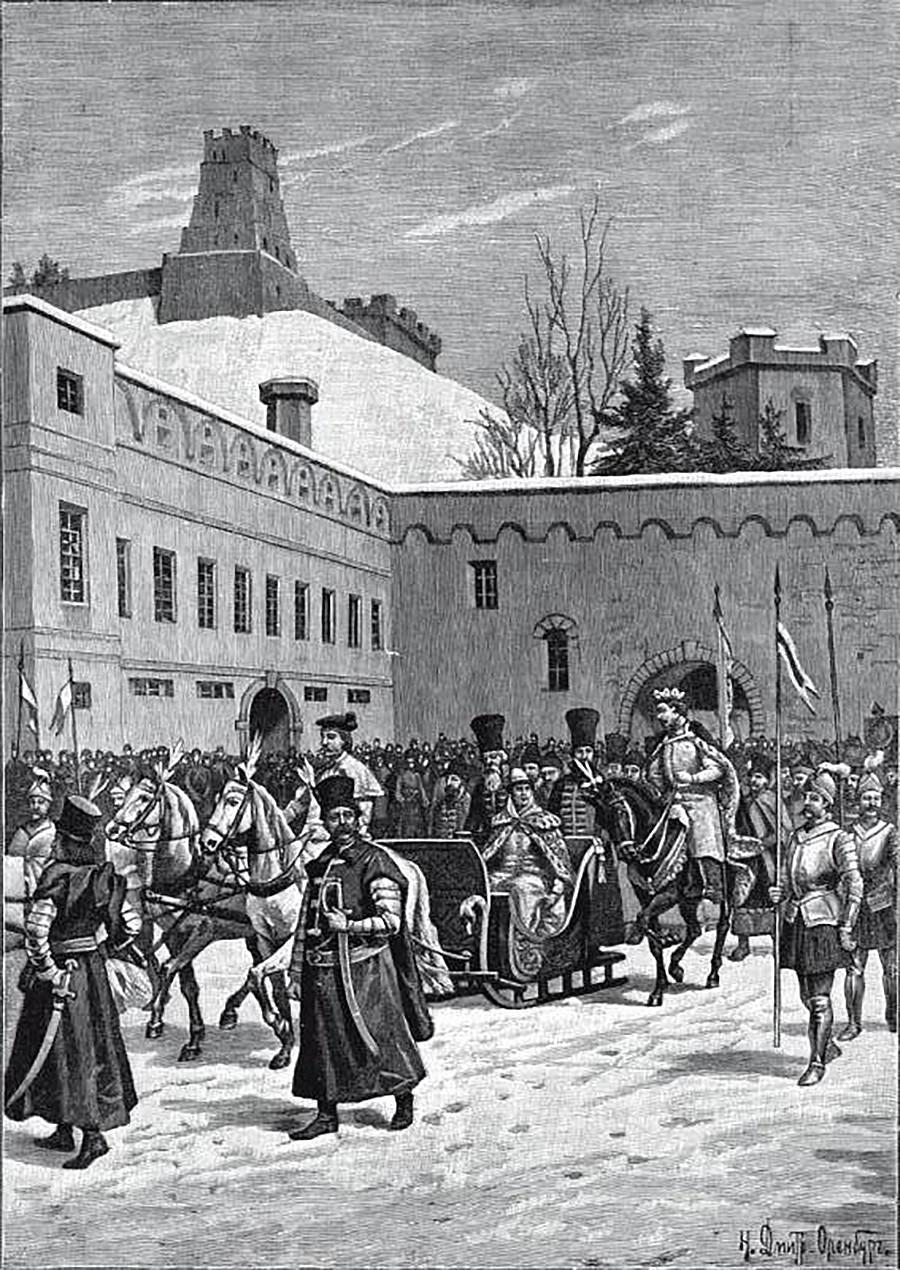 Велики кнез литвански Александар дочекује своју невесту Јелену, ћерку Ивана III у Вилњусу 1495. Цртреж Николаја Дмитријева-Оренбуршког.