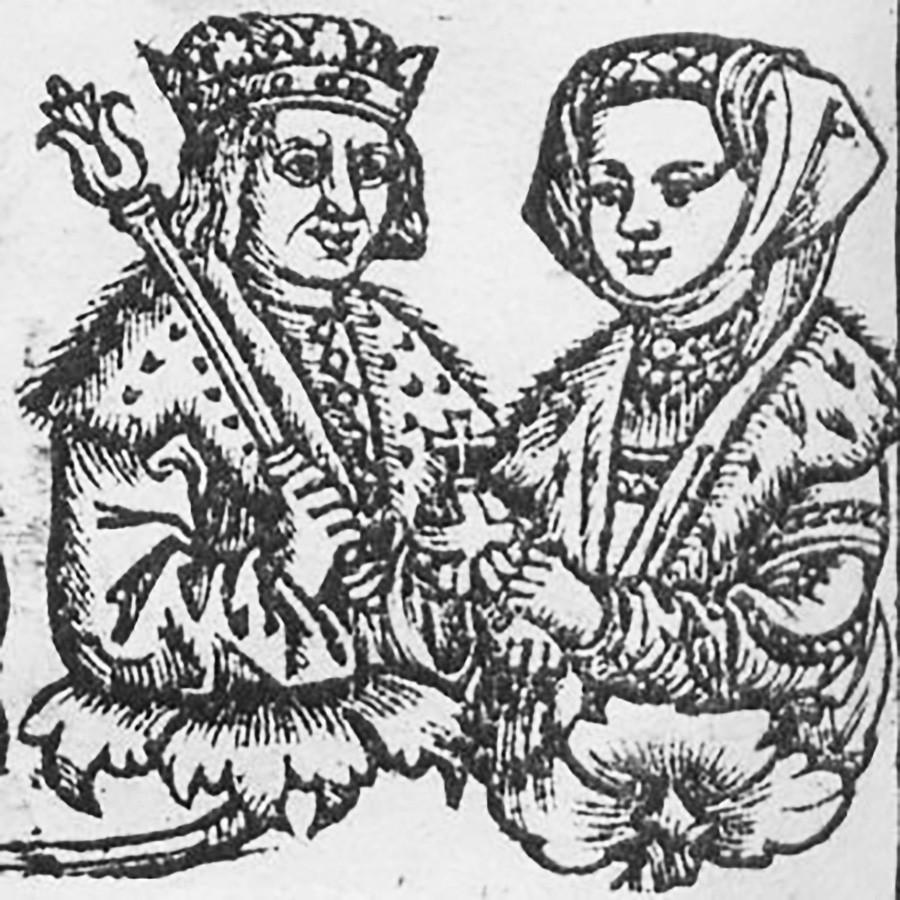 Елена Ивановна със съпруга си Александър, 1519 г.