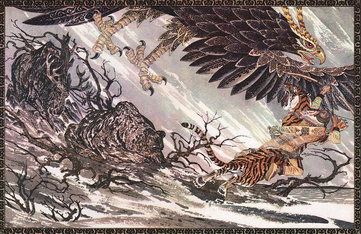"""Птица Кори из нанајске приче """"Гарламди, прецизни стрелац""""."""