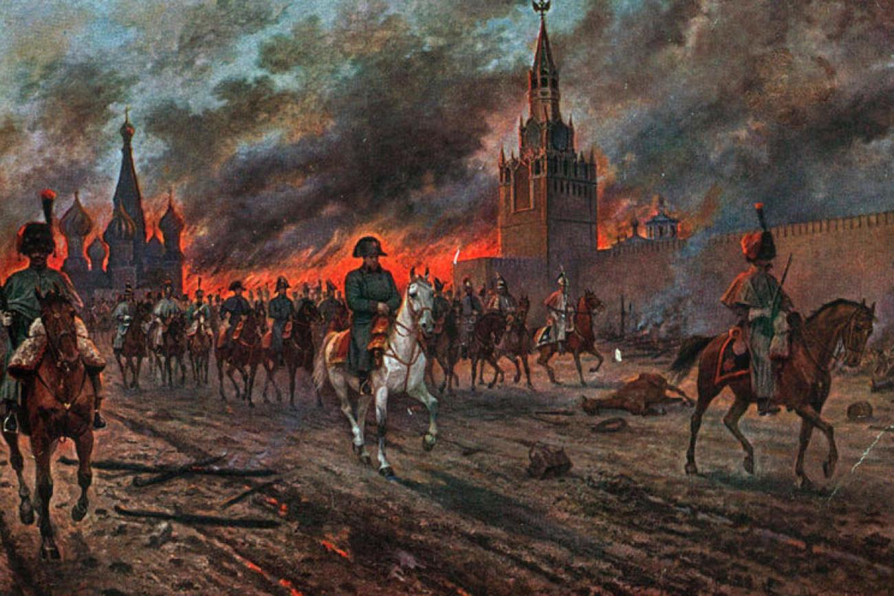 Cuadro 'Incendio de Moscú' de Víktor Mazurovski (1812)