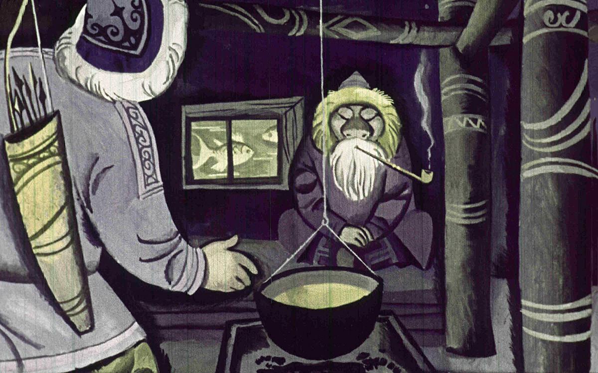 Морской старик Тайрнадз из диафильма «Храбрый Азмун: Амурская сказка»