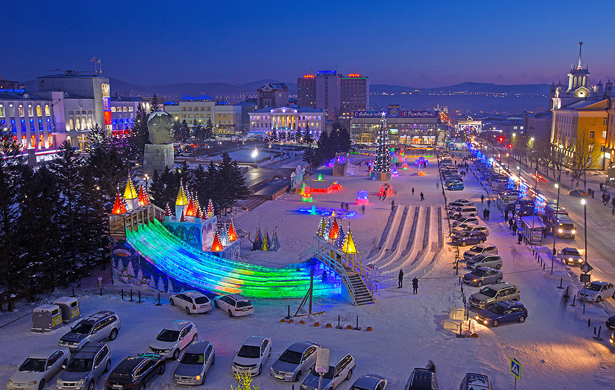 Decorations in Lenin Square in Ulan-Ude, Buryatia, Russia, several days before New Year's Eve celebration.