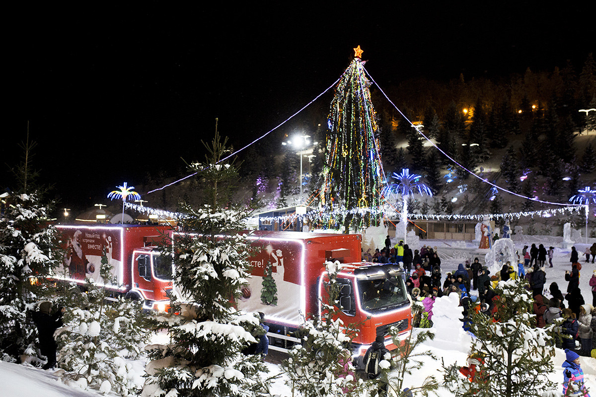 Coca-Cola's trucks arrive at Kashkadan Park for a charity event in Ufa.