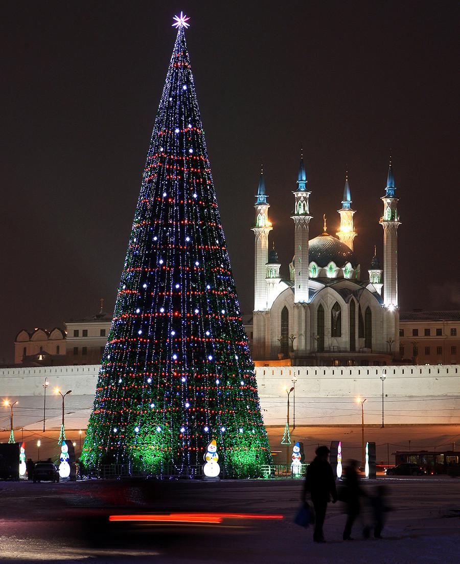 Decoraciones navideñas en Kazán, capital de Tartaristán.