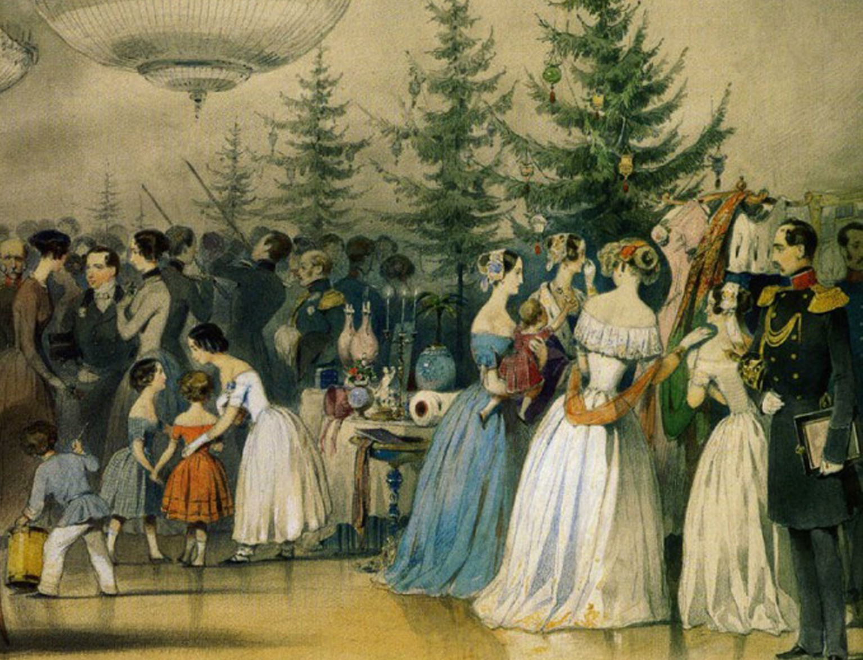 Escenas de la vida familiar del emperador Nicolás II. Árbol de Navidad en el Palacio Ánichkov (1850).