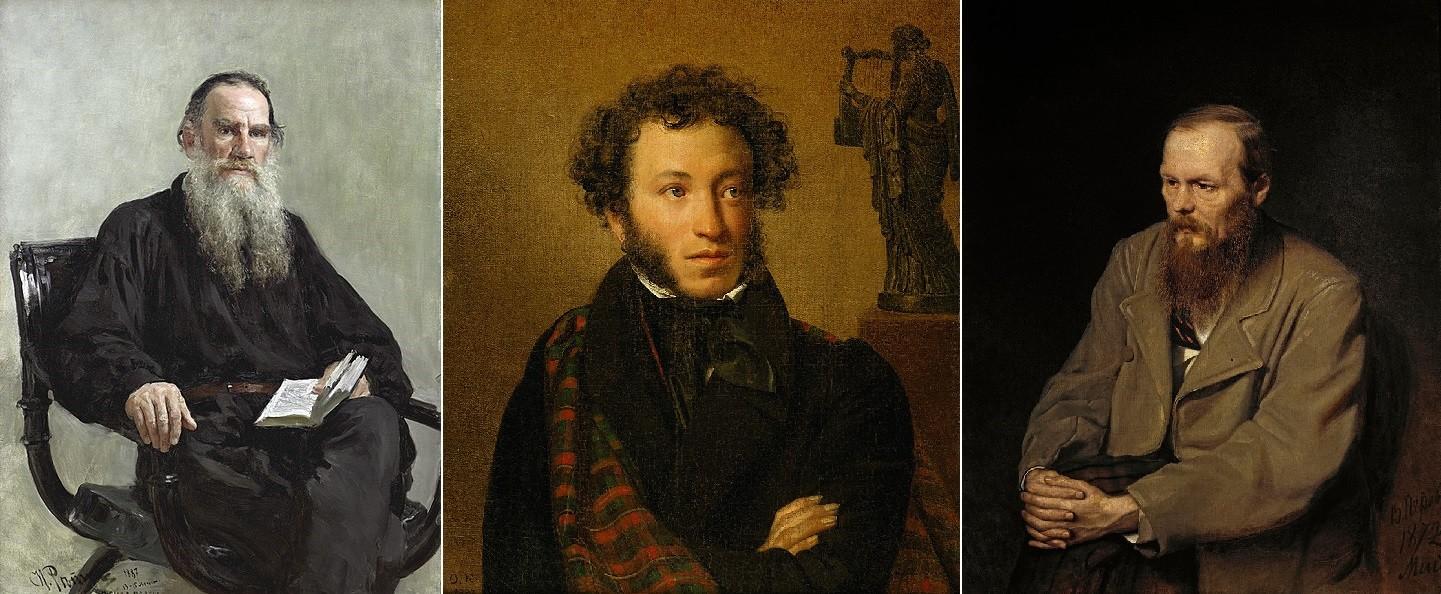 L-R: Portrait of Leo Tolstoy by Ilya Repin, portrait of Alexander Pushkin by Orest Kiprensky, portrait of Fyodor Dostoyevsky by Vasily Perov