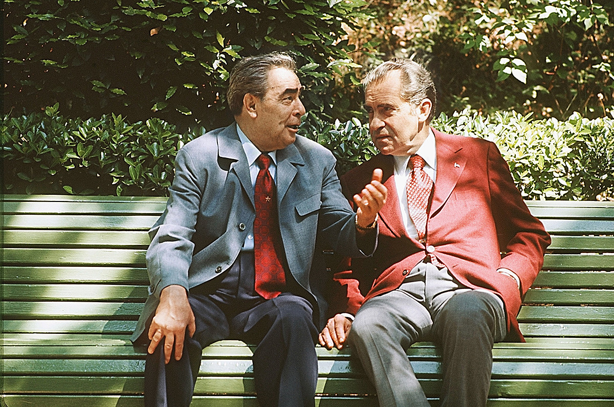 U.S. President Richard Nixon and Soviet leader Leonid Brezhnev, 1974, Crimea.