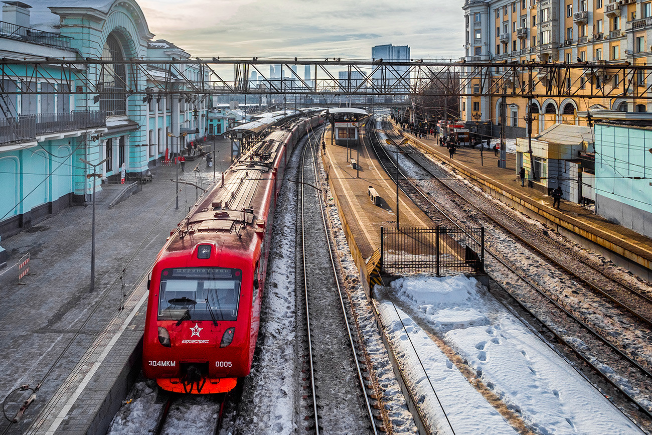 Aeroexpress at the Belorussky railway station