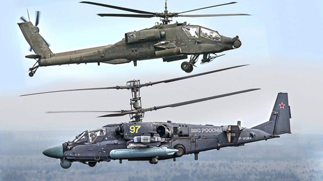 Ka-52 Aligator (spodaj)