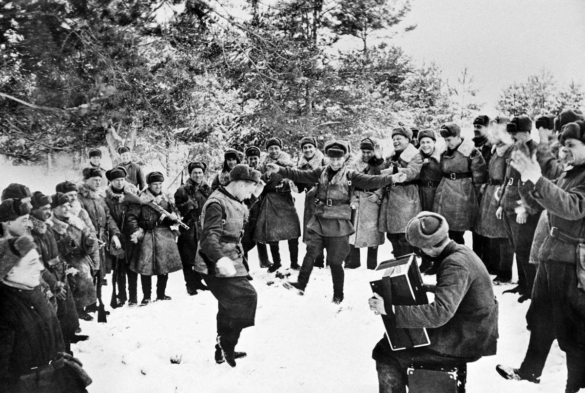 Soldiers celebrating New Year in Moscow region, 1942