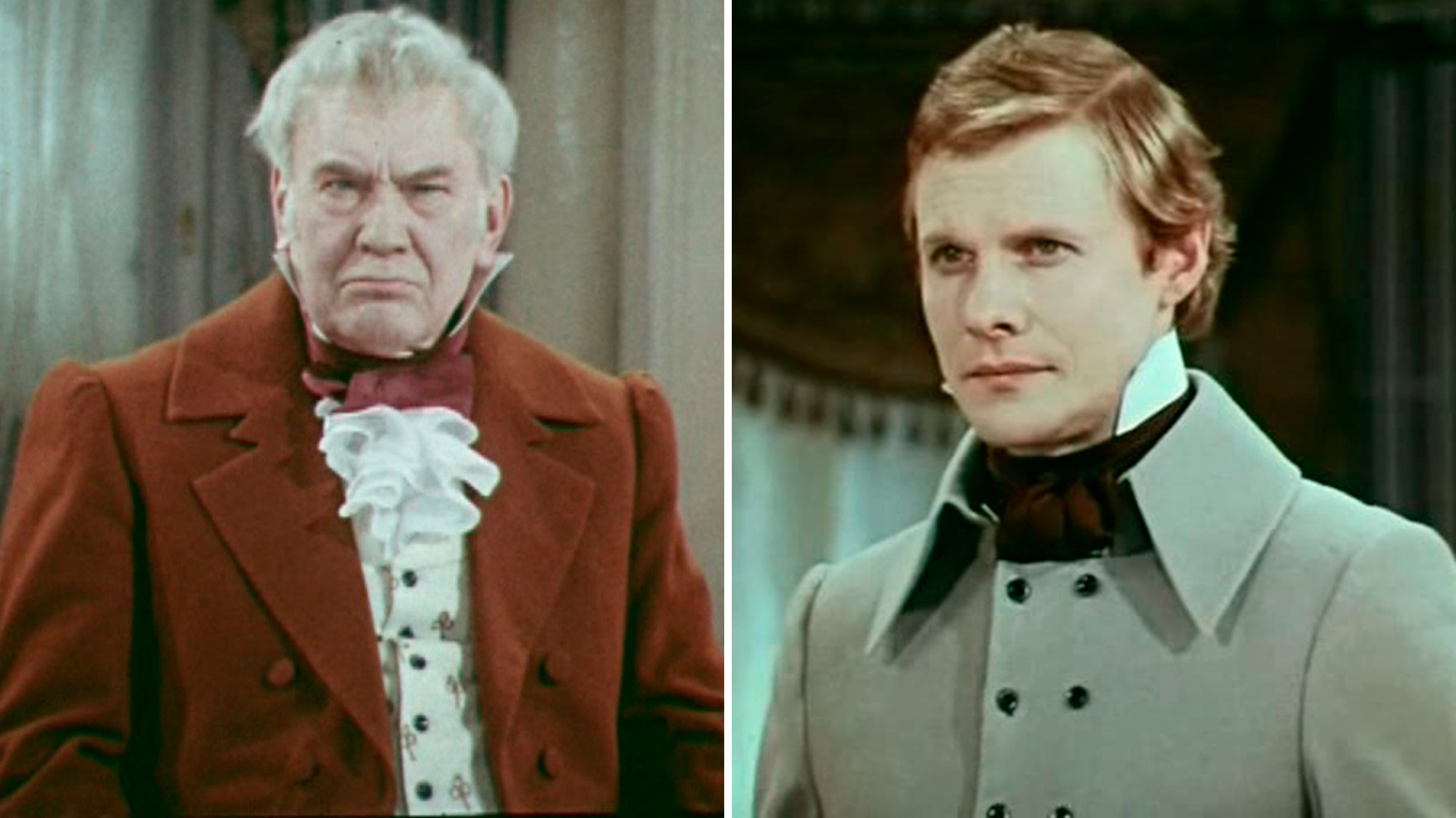 Mikhail Tsarev (L) as Pavel Famusov, Vitaliy Solomin (R) as Alexander Chatsky in a 1977 Soviet teleplay 'Woe from Wit'