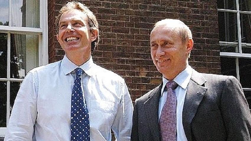 Тони Блер и Владимир Путин, Лондон 2003.
