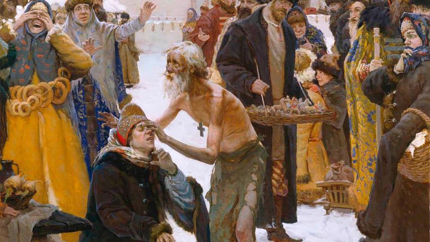 """""""São Basílio, o Abençoado, o milagreiro de Moscou"""", pintura de Vitáli Grafov, 2006."""