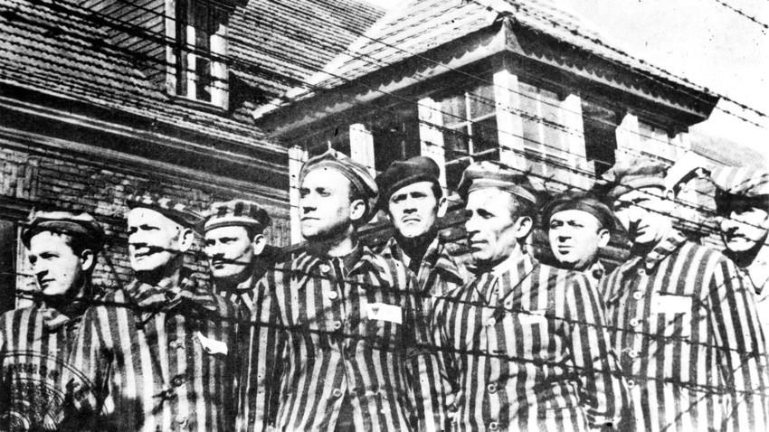 Prisioneiros de Auschwitz.