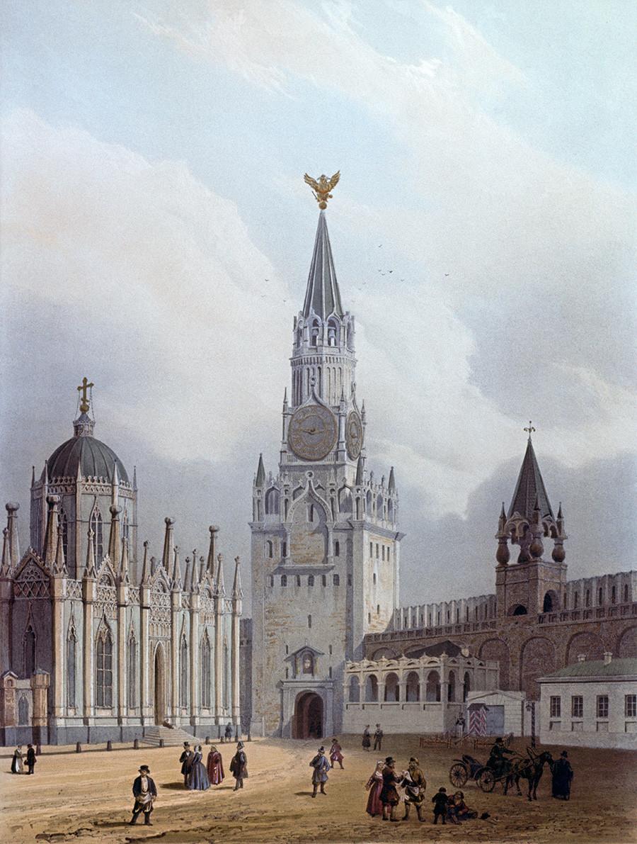 """Biara Kenaikan (dihancurkan pada 1929) dan Menara Spasskaya di Kremlin Moskow. Sebuah reproduksi dari album """"Moskow dan Moskvich (orang/warga Moskow -red.)"""", Museum Sejarah Nasional."""