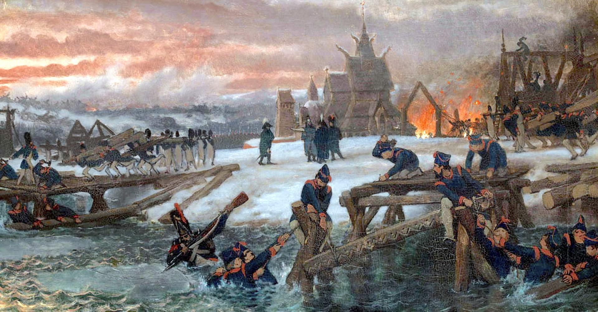 Les pontonniers au travail sur la rivière Bérézina le 26 novembre 1812, construisant les deux ponts temporaires qui sauveront une partie de la grande armée de Napoléon.
