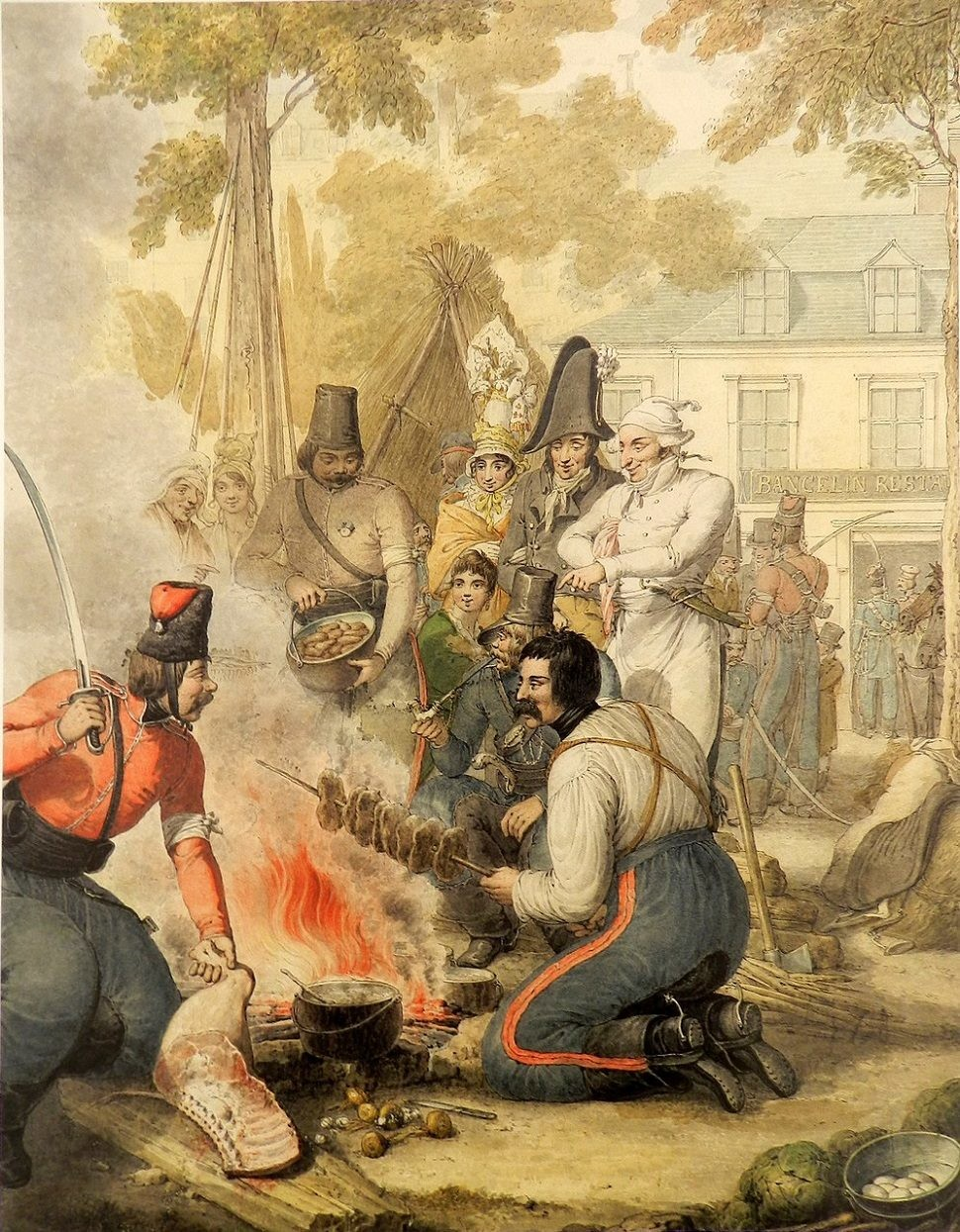 Cuisson de la viande dans le camp des cosaques