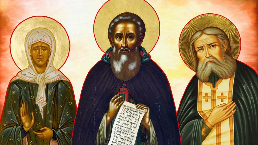Trois saints russes : Matrone de Moscou, Serge de Radonège, Séraphin de Sarov