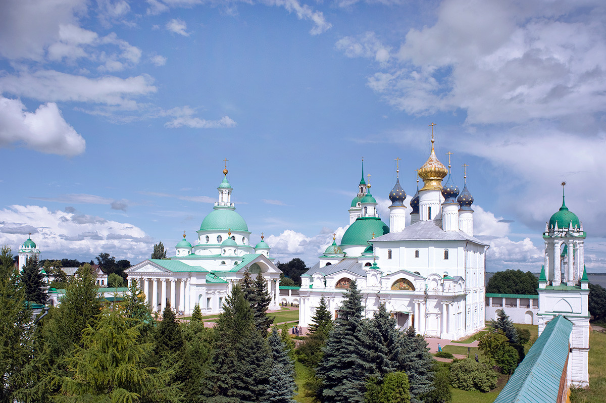Rostov. Savior-St. Yakov-St. Dimitry Monastery.  View from southwest corner of monastery wall. From left: Cathedral of St. Dimitry of Rostov, Church of St. Yakov, Conception of St. Anne Cathedral. July 7, 2019