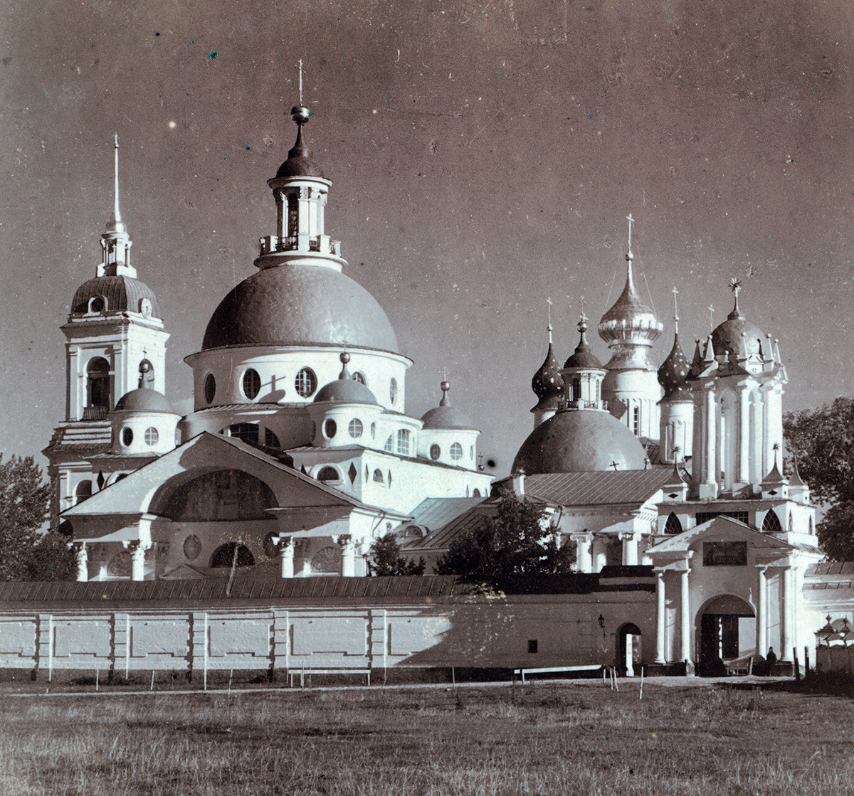 St. Dimitry Monastery, northwest view. From left: Bell tower, St. Dimitry Cathedral, Conception of St. Anne Cathedral, North Gate. Summer 1911