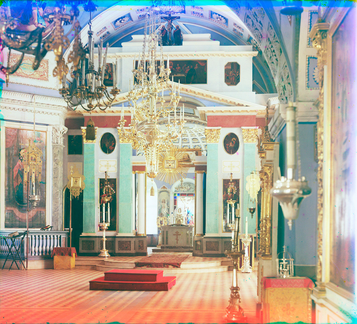 St. Dimitry Cathedral. Interior, view east toward icon screen. Summer 1911