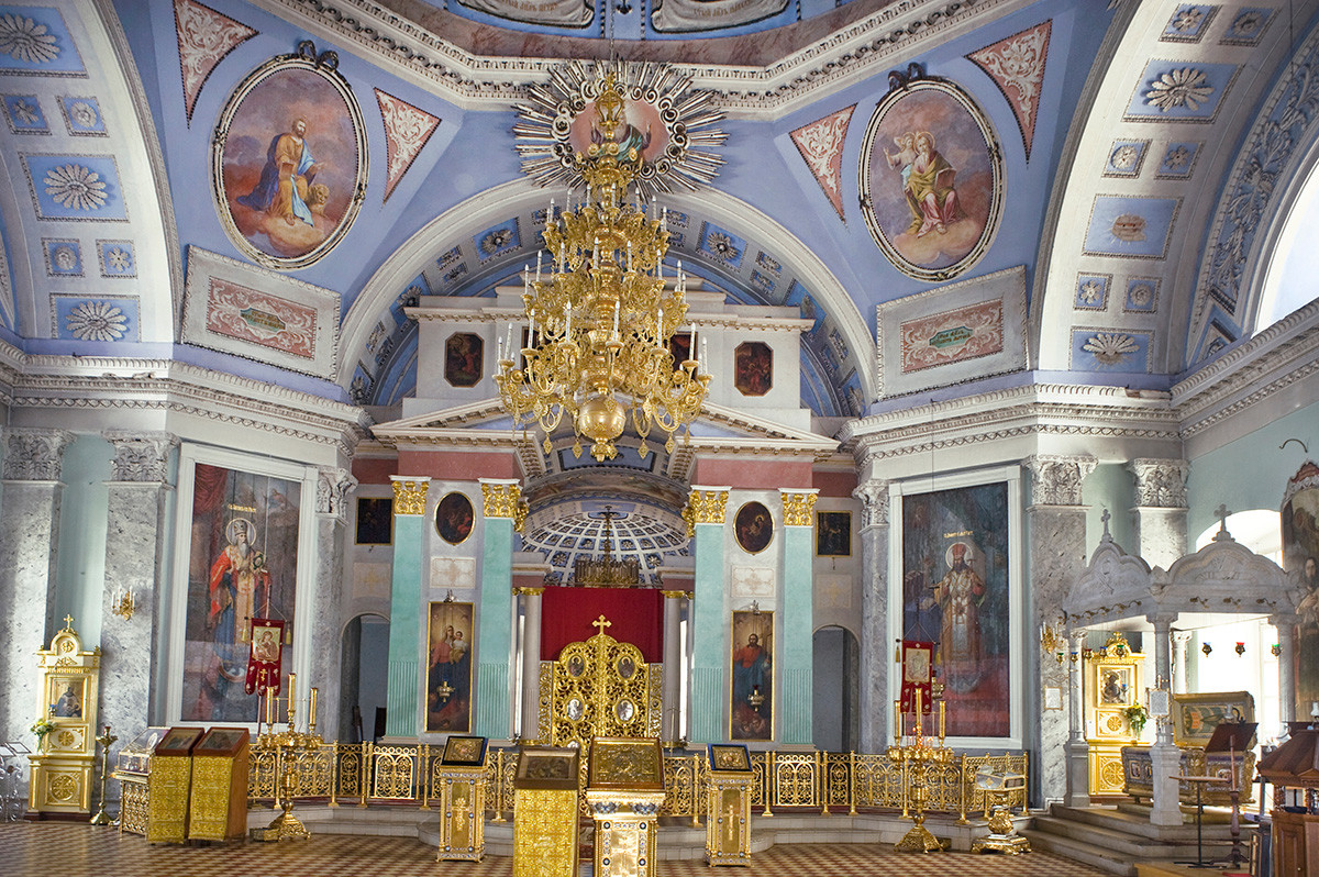 St. Dimitry Cathedral interior. View east toward icon screen. July 8, 2019
