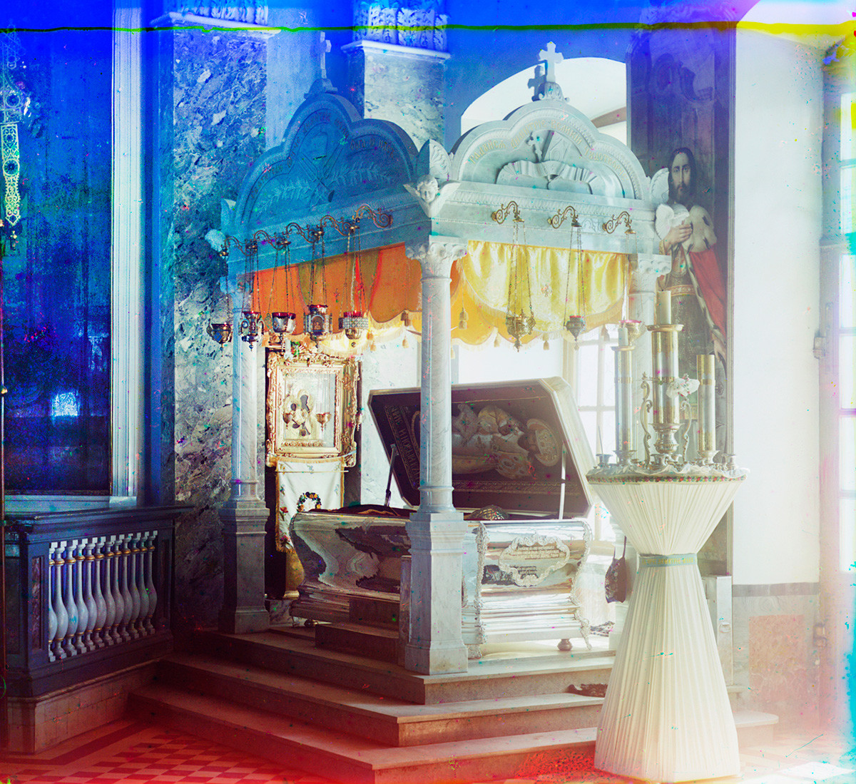 St. Dimitry Cathedral interior. Baldachin with silver sarcophagus containing relics of St. Dimitry of Rostov. Summer 1911