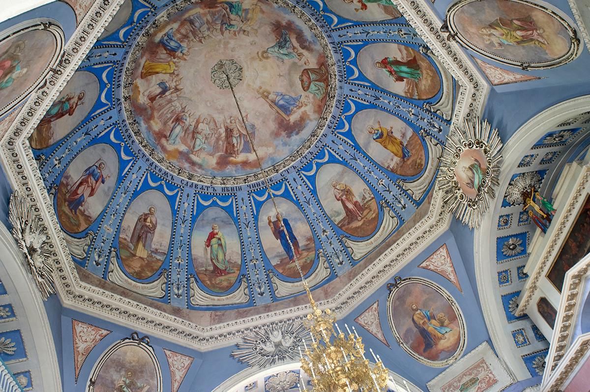 St. Dimitry Cathedral interior. Dome with medallions depicting 12 Apostles. July 7, 2019