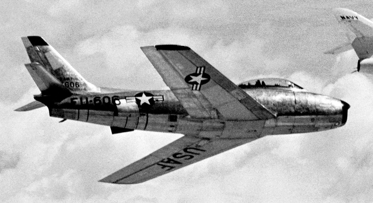 North American F-86 Sabre in flight.