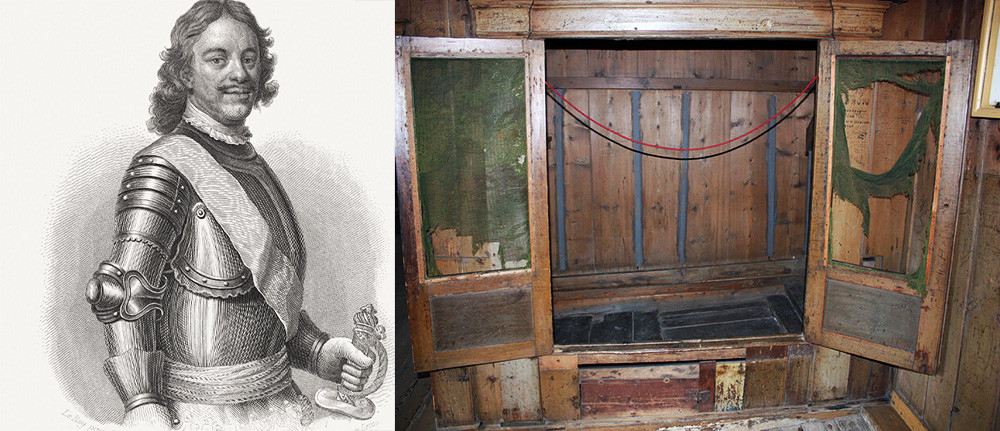 Peter Veliki (L) in predalnik, v katerem je spal, razstavljen v muzeju v Zaandamu na Nizozemskem (D)