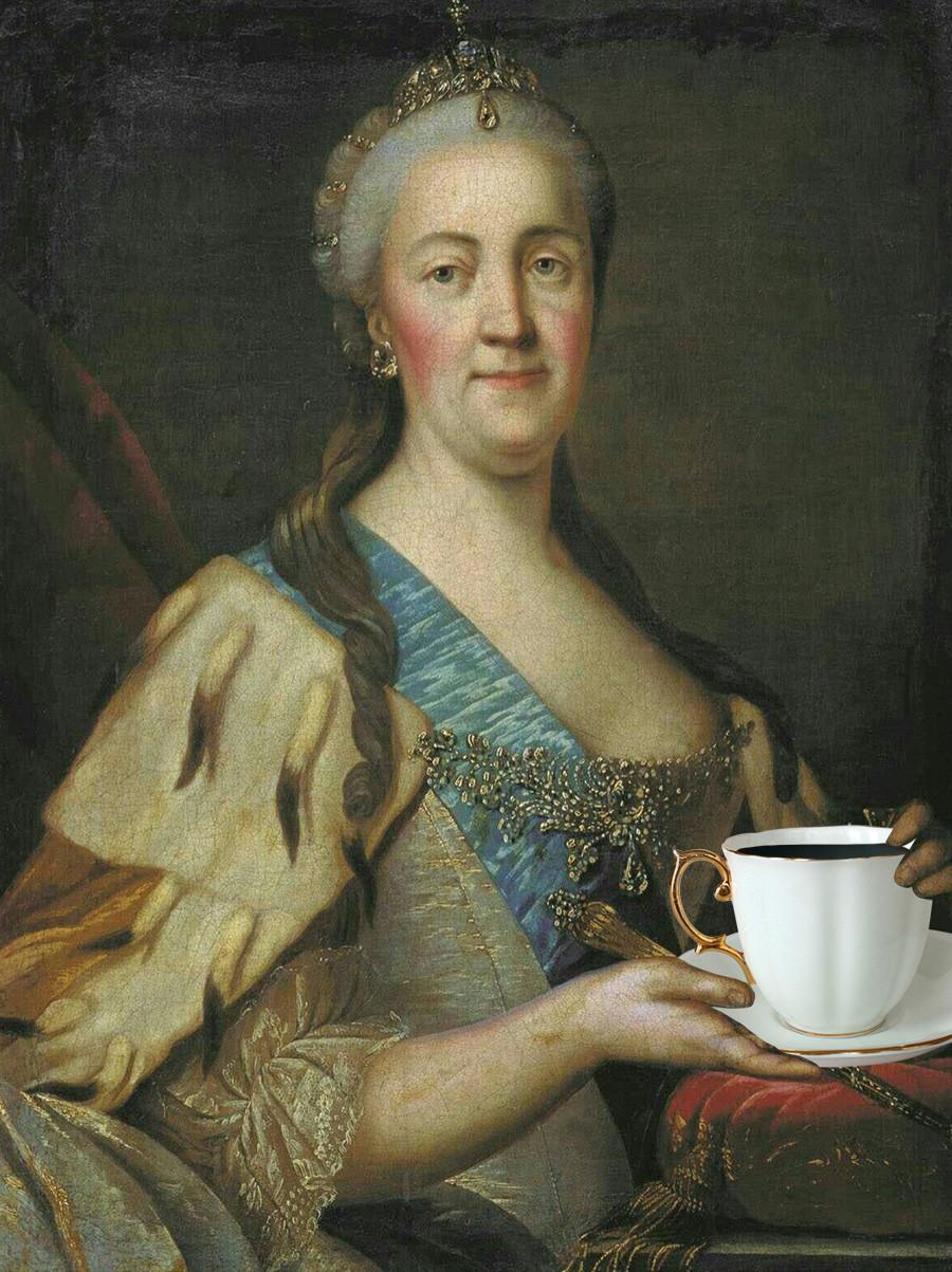 Original: Portret Katarine Velike v sedemdesetih letih 18. stoletja, avtor Ivan Sablukov