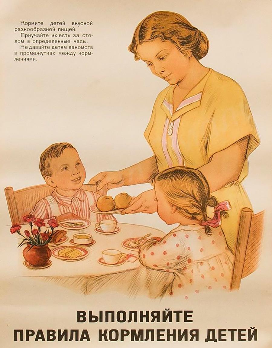 """""""Befolgen Sie die Regeln zum Füttern von Kindern: Geben Sie ihnen leckeres und abwechslungsreiches Essen. Bringen Sie ihnen bei, zu einer festgelegten Zeit am Tisch zu essen. Geben Sie ihnen keine Süßigkeiten zwischen den Mahlzeiten."""""""
