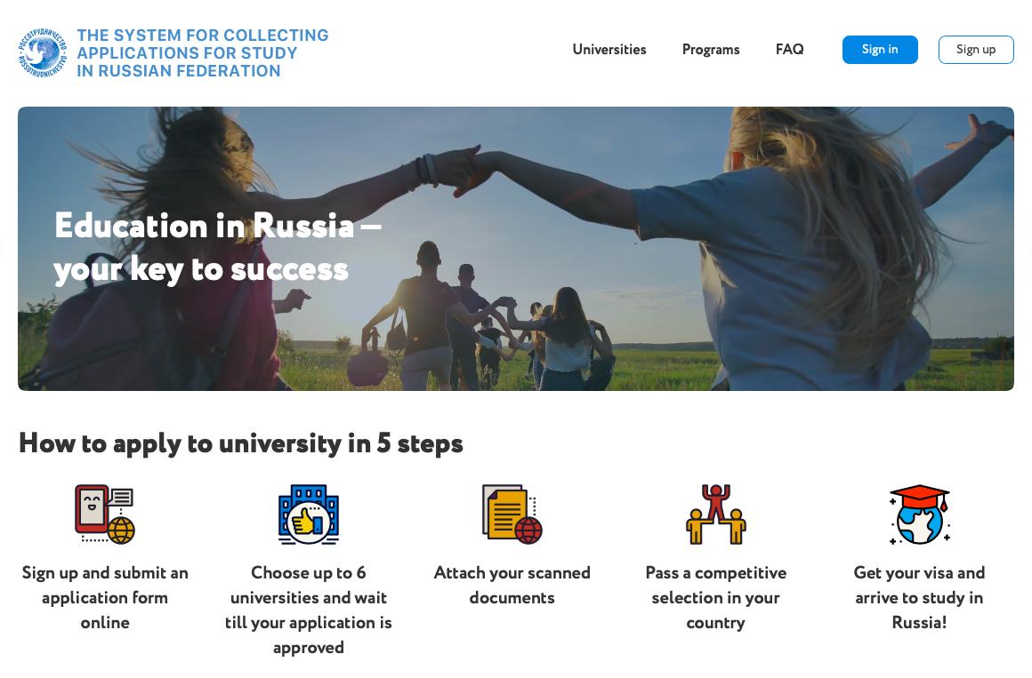 "Tampilan muka situs ""Future in Russia""."