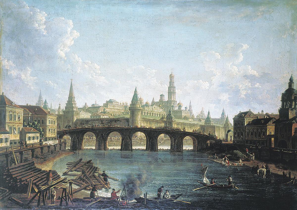 Федор Алексеев. Вид на Московский Кремль со стороны Каменного моста