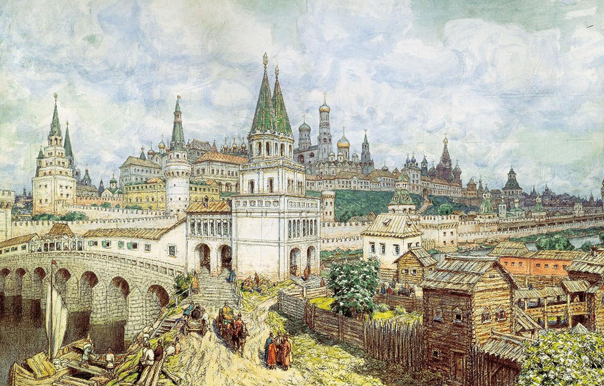 Аполлинарий Васнецов «Расцвет Кремля. Всехсвятский мост и Кремль в конце XVII века». 1922